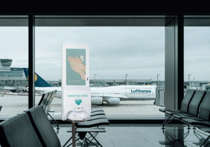 Digital Signage Hand Sanitizer Kiosk Application - Airport